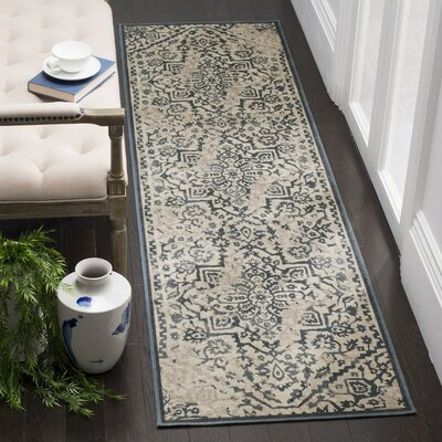 Ercole Beige/Blue Area Rug Rug Size: Runner 22 x 8