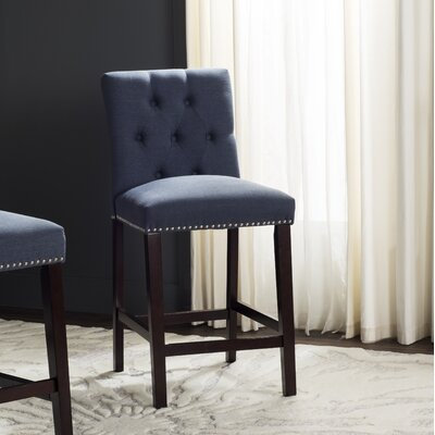 Gowans 27.5 Bar Stool Upholstery: Navy