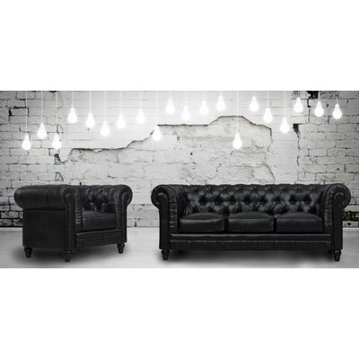 Bardo 2 Piece Leather Living Room Set Upholstery: Black