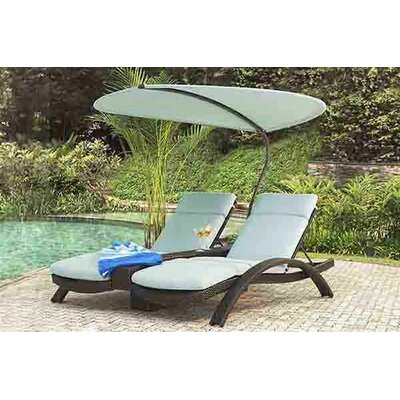 Barlyne Double Chaise Lounge with Cushion Fabric: Canvas