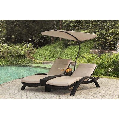 Barlyne Double Chaise Lounge with Cushion Fabric: Frequency