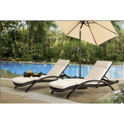 Barnsmore Chaise Lounge with Cushion Fabric: Frequency