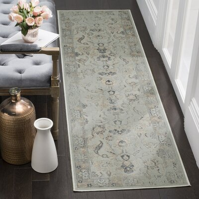 Crestshire Light Blue/Light Gray Area Rug Rug Size: Runner 22 x 8