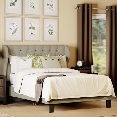 Queen Upholstered Platform Bed Upholstery: Ivory