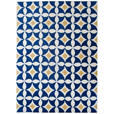 Lattimore Ivory /Blue Outdoor Area Rug Rug Size: 5 x 8