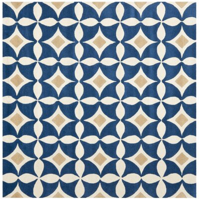 Wegner Ivory /Blue Outdoor Area Rug Rug Size: Square 6