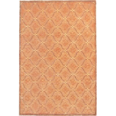 Yasmina Rich Gold and Sand Brown Sheep & Flowers Area Rug Rug Size: 9 x 12