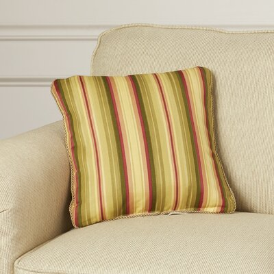 Xenia Medium Scale Stripe Print Cotton Throw Pillow Color: Basil