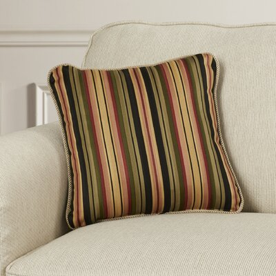 Xenia Medium Scale Stripe Print Cotton Throw Pillow Color: Black