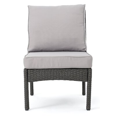 Dia Outdoor Wicker Armless Sectional Sofa Seat with Cushions Upholstery: Gray