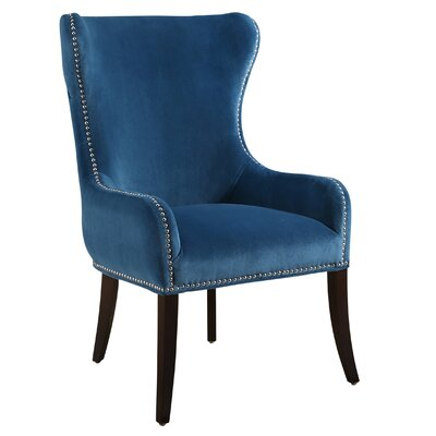 Alan Tufted Velvet Wingback Chair Upholstery: Teal