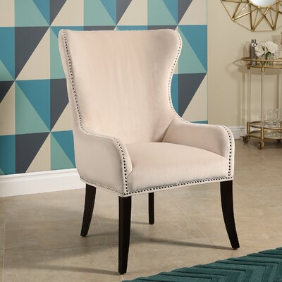 Alan Tufted Velvet Wingback Chair Upholstery: Ivory