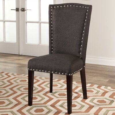 Charlene Upholstered Dining Chair Upholstery: Charcoal Gray