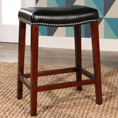 Melinda Bar Stool Upholstery: Black