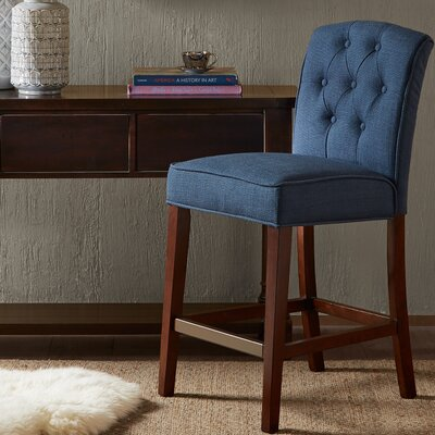 Lewin Bar Stool With Cushion Upholstery: Navy