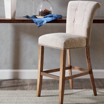 Olivier 30 inch Bar Stool Upholstery: Cream