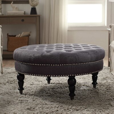 Balamine Round Tufted Ottoman Upholstery: Charcoal
