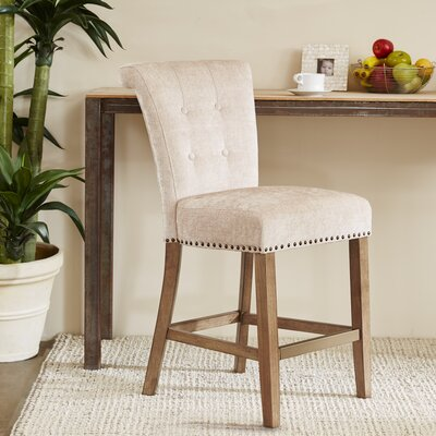 Olivier 24.5 Bar Stool Upholstery: Cream