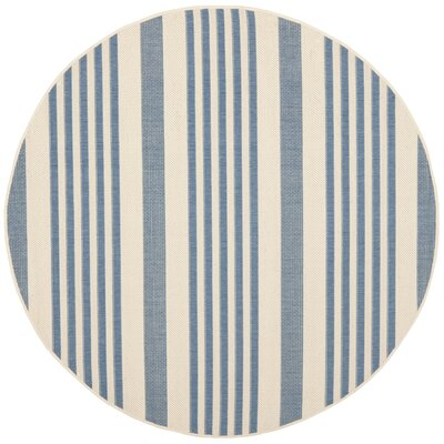 Kirts Blue/Beige Indoor/Outdoor Area Rug Rug Size: Round 67