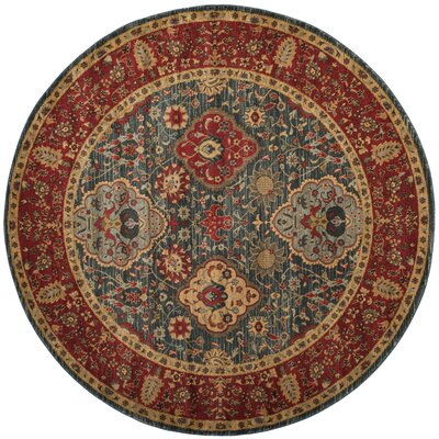 Alto Red/Blue Area Rug Rug Size: Round 67