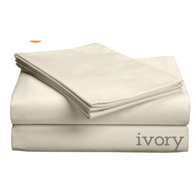 Valerie 618 Thread Count Thin Pocket Sheet Set Color: Ivory, Size: Queen