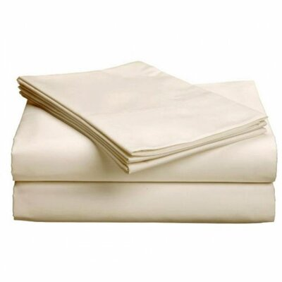 Valerie 618 Thread Count Deep Pocket Sheet Set Size: Queen, Color: Ivory