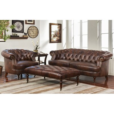 Michele Tufted Top Grain Leather 3 Piece Set
