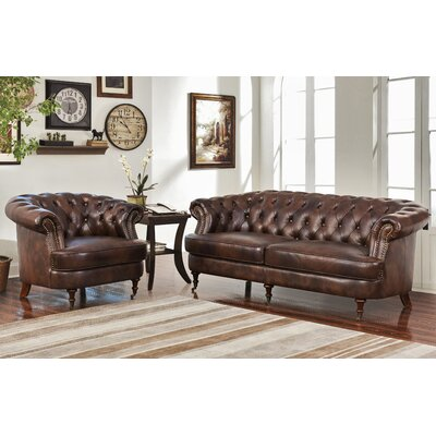 Michele Tufted Top Grain Leather 2 Piece Sofa and Armchair Set
