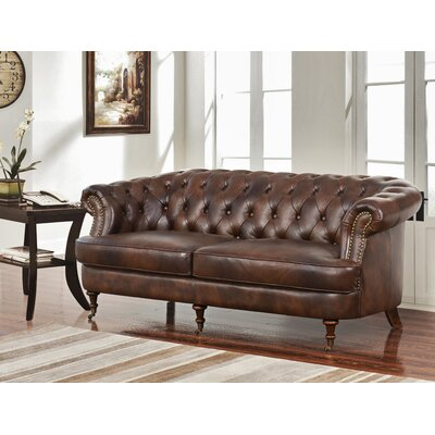 Mccarville Tufted Top Grain Leather Chesterfield Sofa