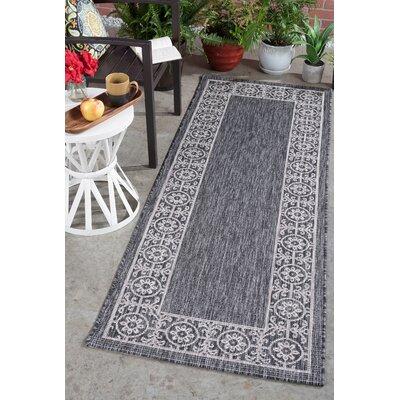 Veranda Traditional Black Indoor/Outdoor Area Rug Rug Size: Runner 27 x 73