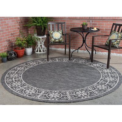 Mann Traditional Black Indoor/Outdoor Area Rug Rug Size: Round 710