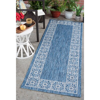 Mann Traditional Indigo Indoor/Outdoor Area Rug Rug Size: Runner 27 x 73