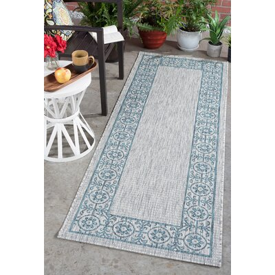 Mann Traditional Teal Indoor/Outdoor Area Rug Rug Size: Runner 27 x 73