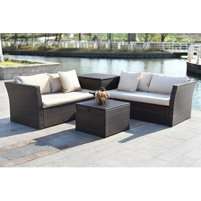 Marguerite 4 Piece Sectional Seating Group with Cushion