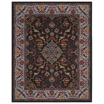 Meriden Hand-Tufted Charcoal/Ivory Area Rug Rug Size: 4 x 6