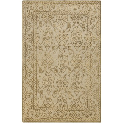 Orrville Hand Knotted Wool Beige Floral Area Rug Rug Size: Rectangle 56 x 86
