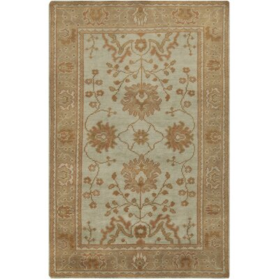 Orrville Hand Knotted Wool Pale Gold/Mint Floral Area Rug Rug Size: Rectangle 56 x 86