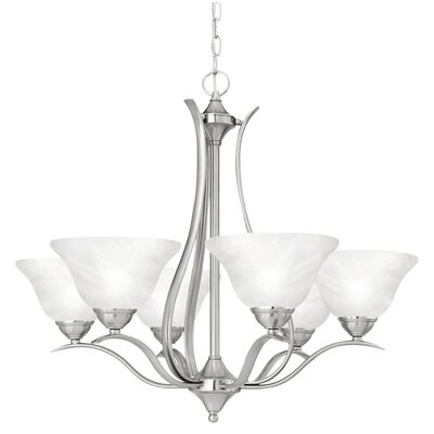 Jan 6-Light Shaded Chandelier Finish: Brushed Nickel
