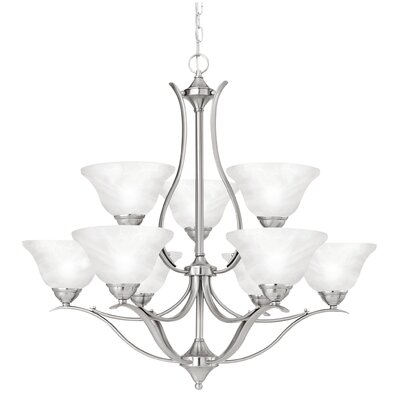 Jan 9-Light Shaded Chandelier Finish: Brushed Nickel