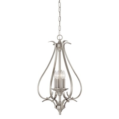 Jan 4-Light Foyer Pendant Finish: Brushed Nickel