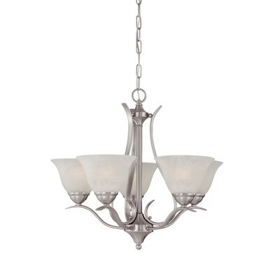 Jan 5-Light Shaded Chandelier Finish: Brushed Nickel