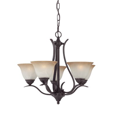 Jan 5-Light Shaded Chandelier Finish: Sable Bronze