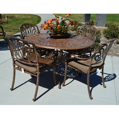 Kristy 5 Piece Dining Set with Cushions Finish: Dark Bronze
