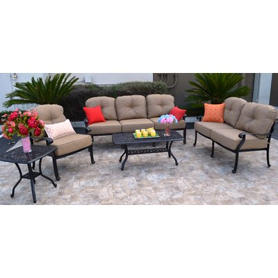 Sidney 5 Piece Antique Bronze Deep Seating Group with Cushion