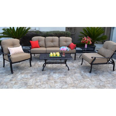 Sidney Antique Bronze 5 Piece Deep Seating Group with Cushion