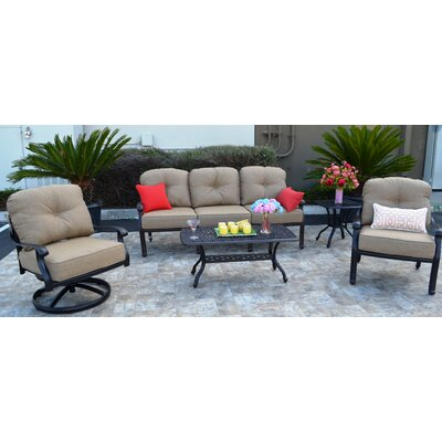 Sidney Tan 5 Piece Deep Seating Group with Cushion