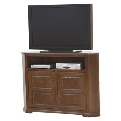 Verna TV Stand Finish: Antique Black, Door Type: Plain Glass