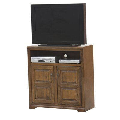 Verna 41 TV Stand Door Type: Plain Glass, Color: Antique Black