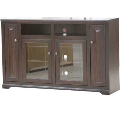Verna TV Stand Finish: Black, Door Type: Glass