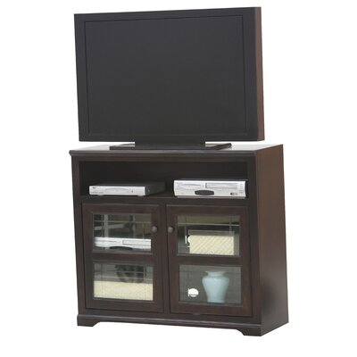 Verna TV Stand Finish: Caribbean Rum, Door Type: Plain Glass